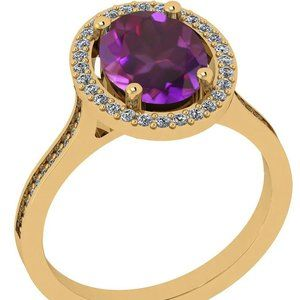 Certified 1.55 Ctw Amethyst and Diamond 10K Gold